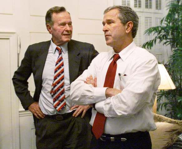 George W. Bush, here with his father, former President George Bush, in 2000, sold himself as a traditional Republican brand.