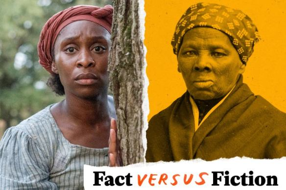 Diptych of Cynthia Erivo as Harriet Tubman, in a still from the movie, and Harriet Tubman in a historical photo.