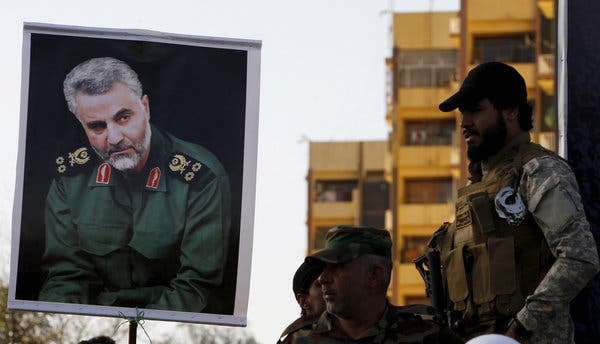 A portrait of Maj. Gen. Qassim Suleimani carried during a demonstration in Baghdad in 2015.