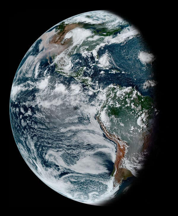 Waning gibbous Earth taken by the GOES-16 satellite on Sept. 11 this year. Smoke from fires in the Amazon and Pantanal of Brazil dominates South America. A vast vector of smoke expands across North America and the Pacific from West Coast wildfires.