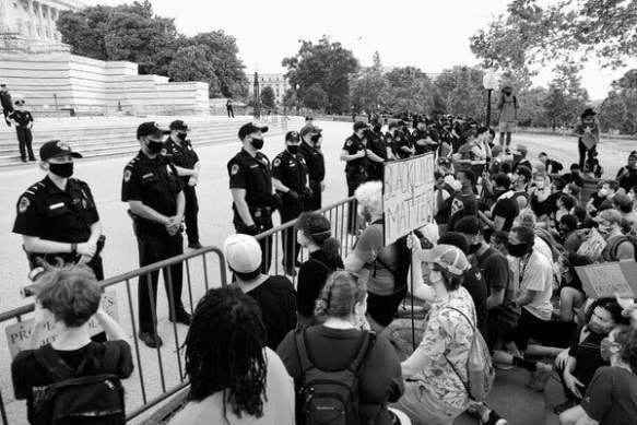 Demonstrators at the Capitol in June protested the killing of George Floyd.